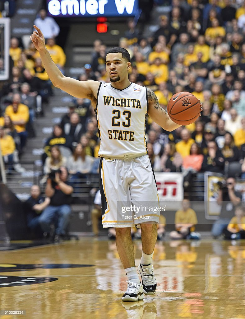 Guard <a gi-track='captionPersonalityLinkClicked' href=/galleries/search?phrase=Fred+VanVleet&family=editorial&specificpeople=10612238 ng-click='$event.stopPropagation()'>Fred VanVleet</a> #23 of the Wichita State Shockers calls out a play against the Northern Iowa Panthers during the first half on February 13, 2016 at Charles Koch Arena in Wichita, Kansas. Northern Iowa defeated Wichita State 53-50.