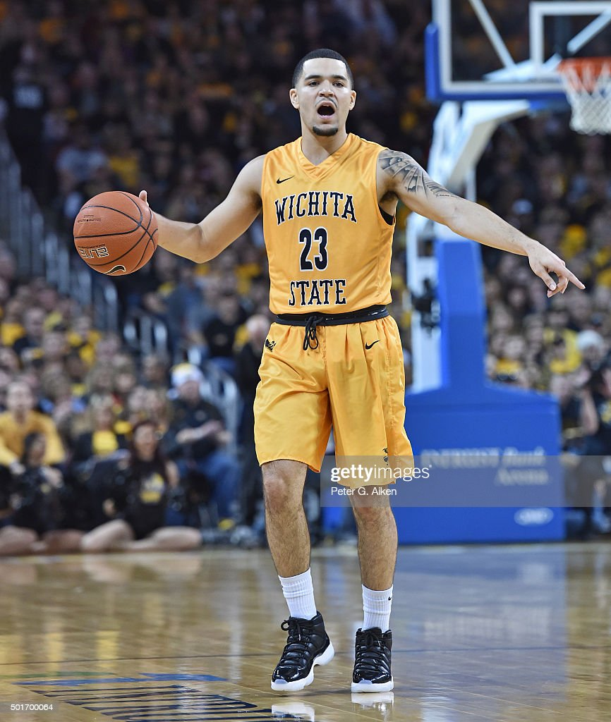 Guard <a gi-track='captionPersonalityLinkClicked' href=/galleries/search?phrase=Fred+VanVleet&family=editorial&specificpeople=10612238 ng-click='$event.stopPropagation()'>Fred VanVleet</a> #23 of the Wichita State Shockers calls out instructions on the court against the Utah Utes during the first half on December 12, 2015 at Intrust Bank Arena in Wichita, Kansas.