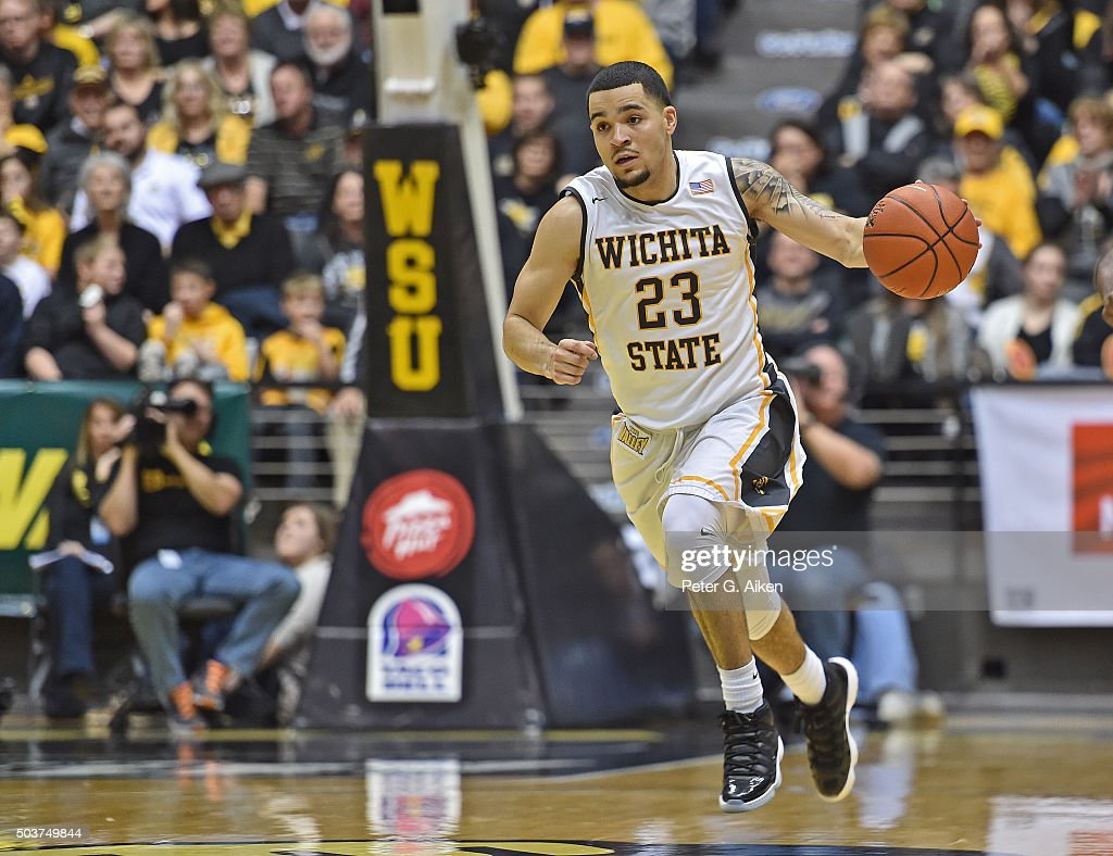 Guard <a gi-track='captionPersonalityLinkClicked' href=/galleries/search?phrase=Fred+VanVleet&family=editorial&specificpeople=10612238 ng-click='$event.stopPropagation()'>Fred VanVleet</a> #23 of the Wichita State Shockers dribbles the ball up court against the Evansville Aces during the first half on January 6, 2016 at Charles Koch Arena in Wichita, Kansas. Wichita State defeated Evansville 67-64.