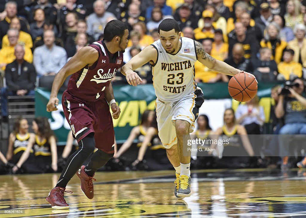 Guard Fred VanVleet #23 of the Wichita State Shockers drive up court against guard Mike Rodriguez #1 of the Southern Illinois Salukis during the first half on February 3, 2016 at Charles Koch Arena in Wichita, Kansas.