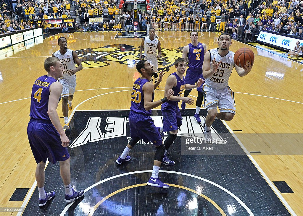 Guard <a gi-track='captionPersonalityLinkClicked' href=/galleries/search?phrase=Fred+VanVleet&family=editorial&specificpeople=10612238 ng-click='$event.stopPropagation()'>Fred VanVleet</a> #23 of the Wichita State Shockers drives to the basket against the Northern Iowa Panthers during the second half on February 13, 2016 at Charles Koch Arena in Wichita, Kansas. Northern Iowa defeated Wichita State 53-50.