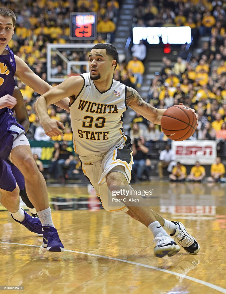 Guard Fred VanVleet #23 of the Wichita State Shockers drives with the ball against the Northern Iowa Panthers during the first half on February 13, 2016 at Charles Koch Arena in Wichita, Kansas. Northern Iowa defeated Wichita State 53-50.
