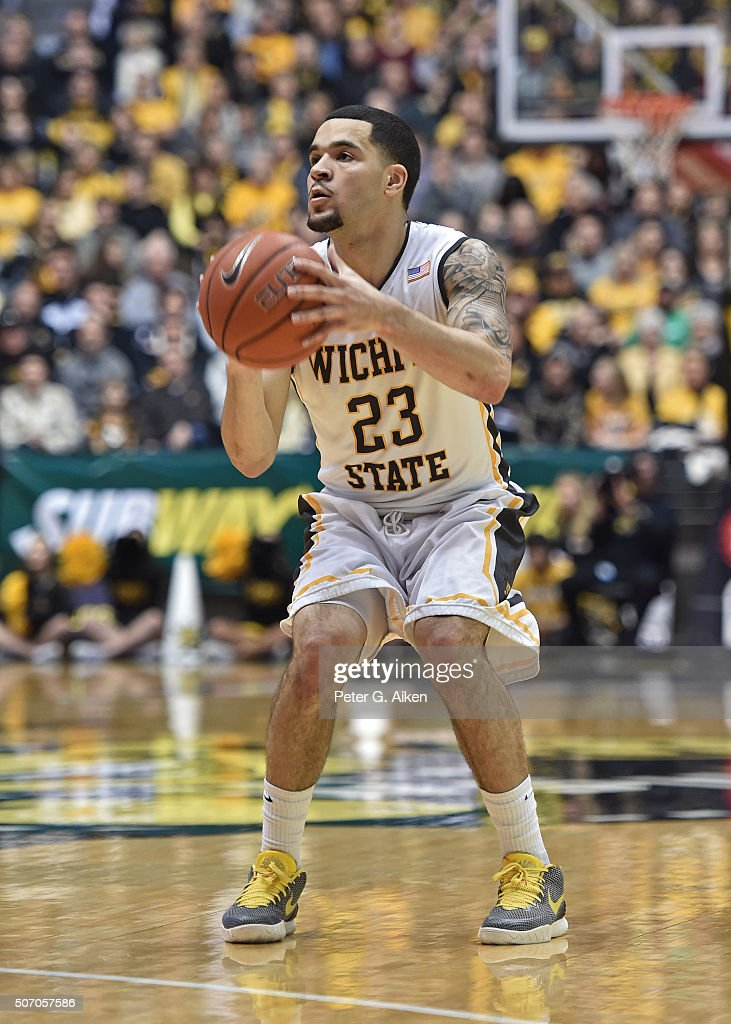 Guard <a gi-track='captionPersonalityLinkClicked' href=/galleries/search?phrase=Fred+VanVleet&family=editorial&specificpeople=10612238 ng-click='$event.stopPropagation()'>Fred VanVleet</a> #23 of the Wichita State Shockers gets set to take a shot against the Indiana State Sycamores during the first half on January 17, 2016 at Charles Koch Arena in Wichita, Kansas.