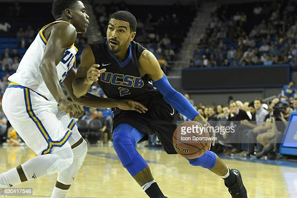 UCSB guard Gabs Vincent drives to the basket during an NCAA basketball game between the UC Santa Barbara Gauchos and the UCLA Bruins on December 14...