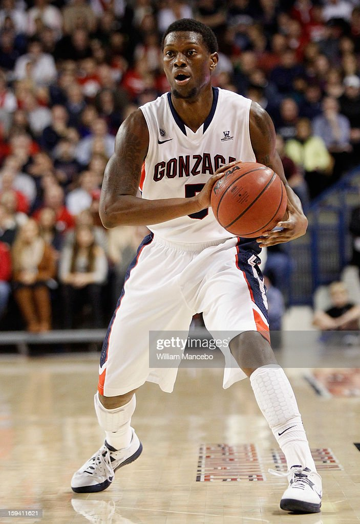Guard Gary Bell Jr. #5 of the Gonzaga Bulldogs controls the ball during the game against the Saint Mary's Gaels at McCarthey Athletic Center on January 10, 2013 in Spokane, Washington.