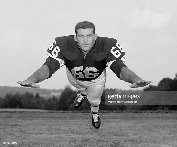 Guard Gene Hickerson of the Cleveland Browns poses for a portrait during training camp on August 10 1962 at Hiram College in Hiram Ohio