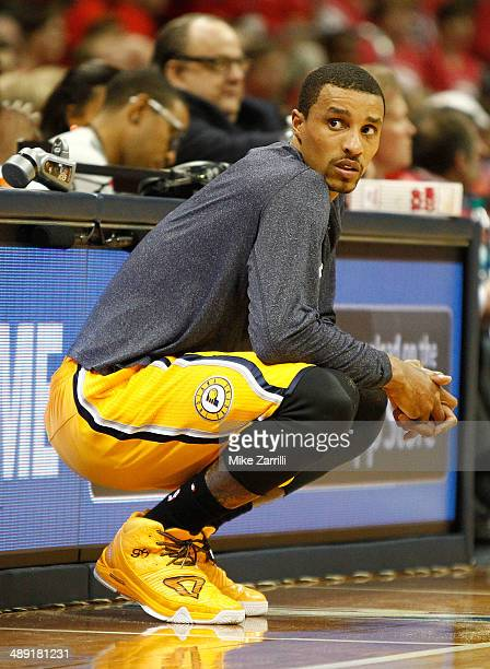 Guard George Hill of the Indiana Pacers waits to get in the game during Game Six of the Eastern Conference Quarterfinals against the Atlanta Hawks...