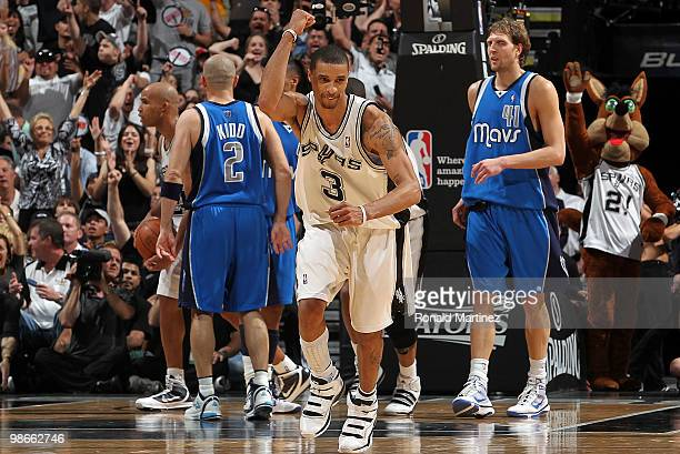Guard George Hill of the San Antonio Spurs reacts during a 9289 win against the Dallas Mavericks in Game Four of the Western Conference Quarterfinals...
