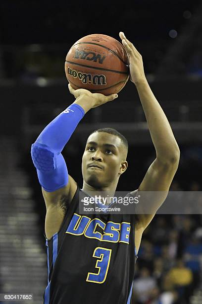 UCSB guard Grant Troutt shoots a free throw during an NCAA basketball game between the UC Santa Barbara Gauchos and the UCLA Bruins on December 14 at...
