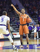 Guard Isaiah Taylor#1 of the Texas Longhorns calls out instructions against the Kansas State Wildcats during the first half on February 22 2016 at...