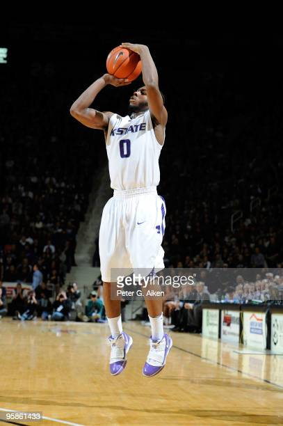 Guard Jacob Pullen of the Kansas State Wildcats puts up a shot against the Texas Longhorns in the second half on January 18 2010 at Bramlage Coliseum...