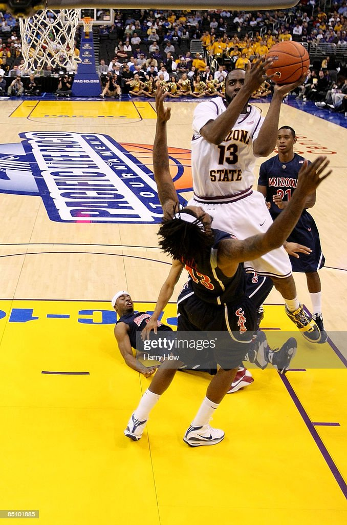 Guard James Harden of the Arizona State Sun Devils goes up for a shot against the Arizona Wildcats during the Pacific Life Pac10 Men's Basketball...