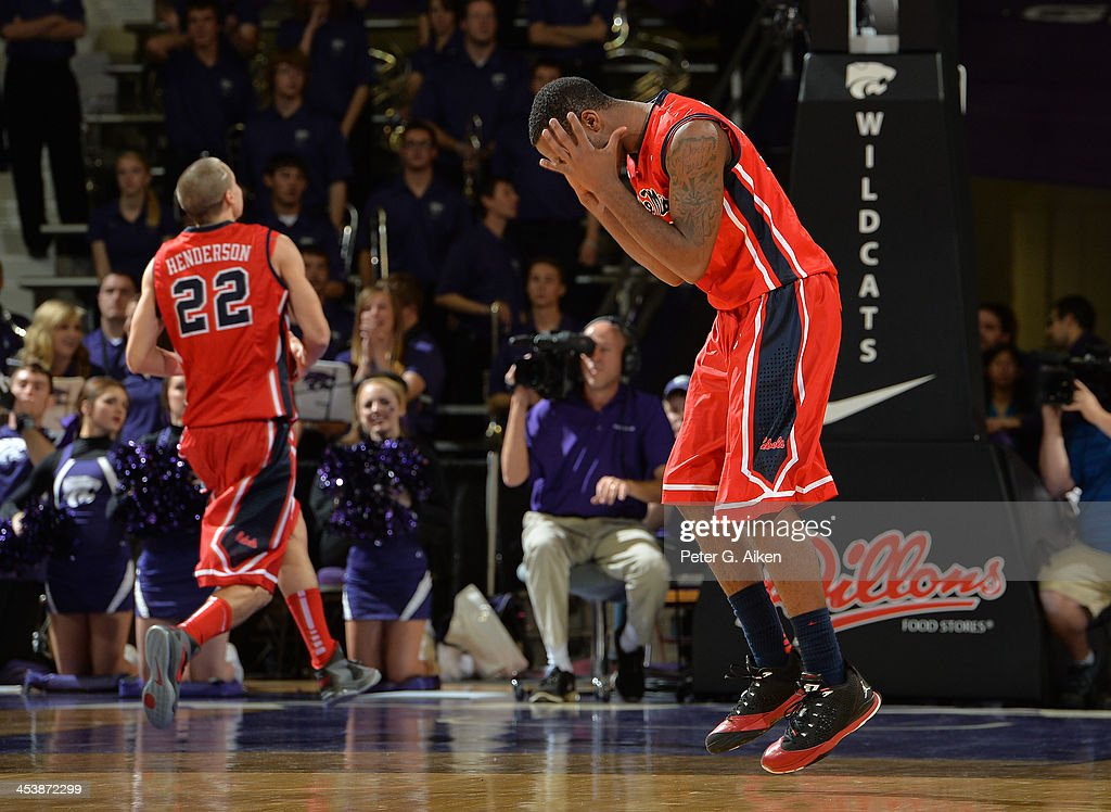 Guard Jarvis Summers #32 of the Mississippi Rebels reacts after a foul call during the second half against the Kansas State Wildcats on December 5, 2013 at Bramlage Coliseum in Manhattan, Kansas. Kansas State won 61-58.