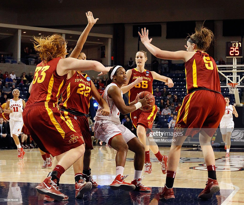 Guard Jasmine James #10 of the Georgia Lady Bulldogs plays against the Iowa State Cyclones late in the game during the second round of the 2013 NCAA Women's Basketball Tournament at McCarthey Athletic Center on March 25, 2013 in Spokane, Washington. The Lady Bulldogs defeated the Cyclones 65-60.