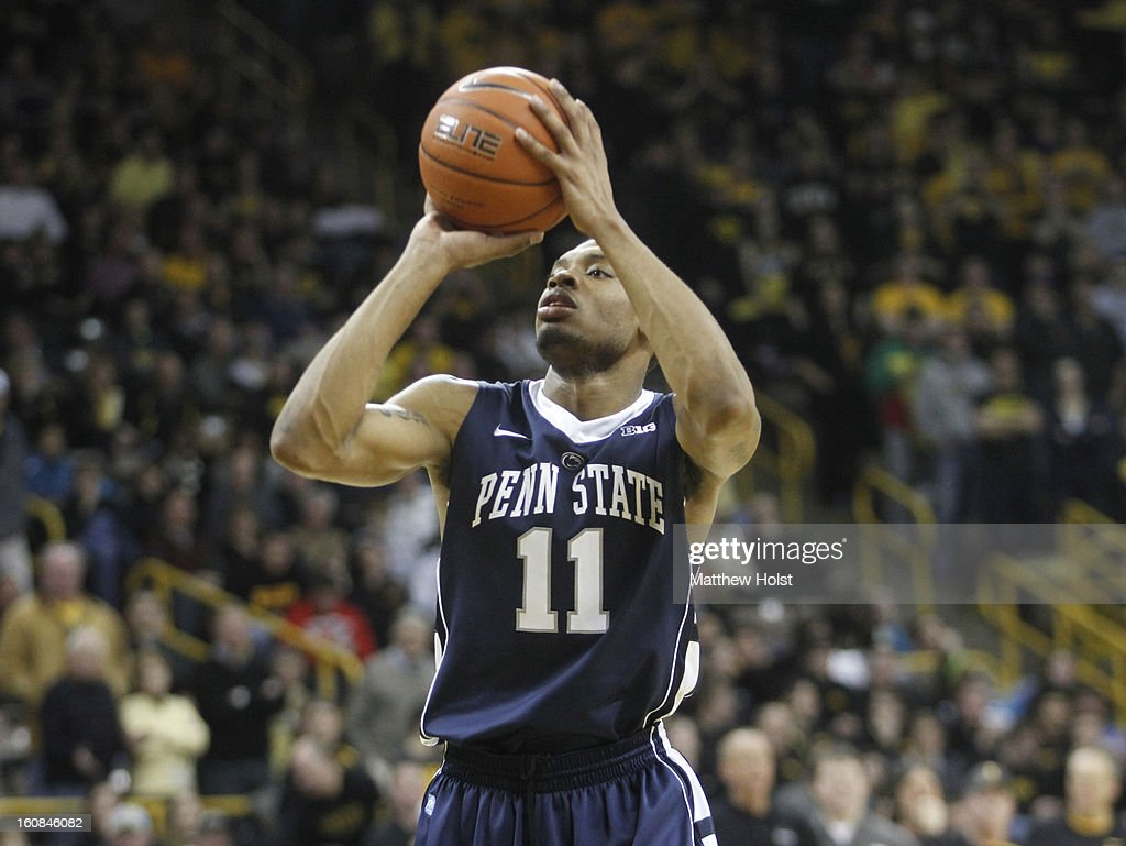 Guard Jermaine Marshall #11 of the Penn State Nittany Lions takes a shot during the first half against the Iowa Hawkeyes on January 31, 2013 at Carver-Hawkeye Arena in Iowa City, Iowa. Iowa won 76-67.