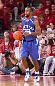 Guard Joe Crawford of the Kentucky Wildcats dribbles the ball down the court against the Arkansas Razorbacks at Bud Walton Arena on February 3 2007...