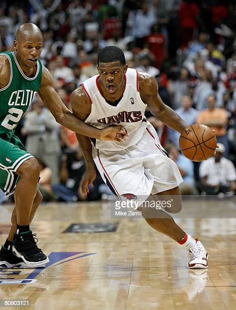 Guard Joe Johnson of the Atlanta Hawks dribbles past forward Ray Allen of the Boston Celtics in Game Four of the Eastern Conference Quarterfinals...