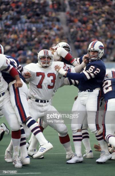 Guard John Hannah of the New England Patriots watches the kick during a game on December 14 1975 at Schaefer Stadium in Foxboro Massachusetts
