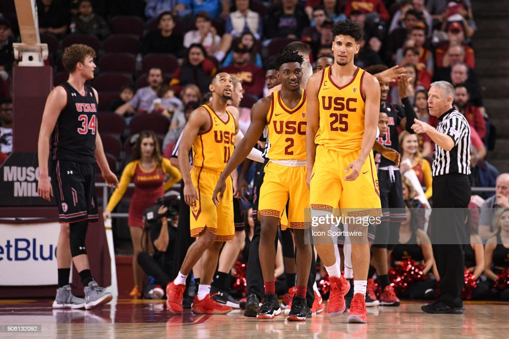 USC guard Jonah Mathews (2) escorts USC forward Bennie Boatwright (25) away as the official calls a double technical foul on Boatwright and a Utah player during a college basketball game between the Utah Utes and the USC Trojans on January 14, 2018, at the Galen Center in Los Angeles, CA.