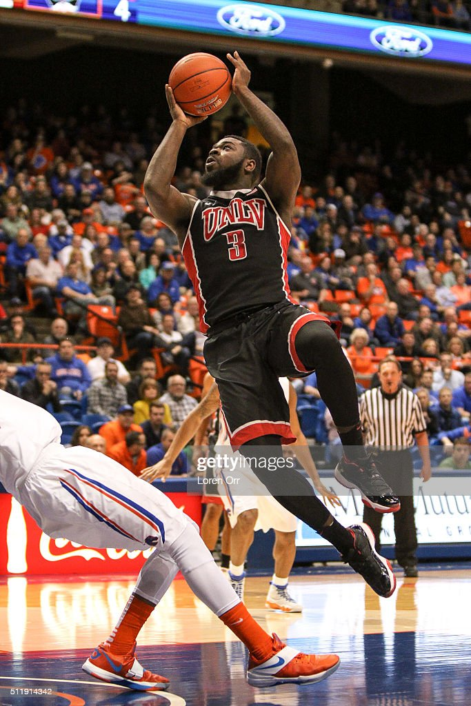 Guard Jordan Cornish of the UNLV Rebels shoots during firsthalf action against the Boise State Broncos on February 23 2016 at Taco Bell Arena in...