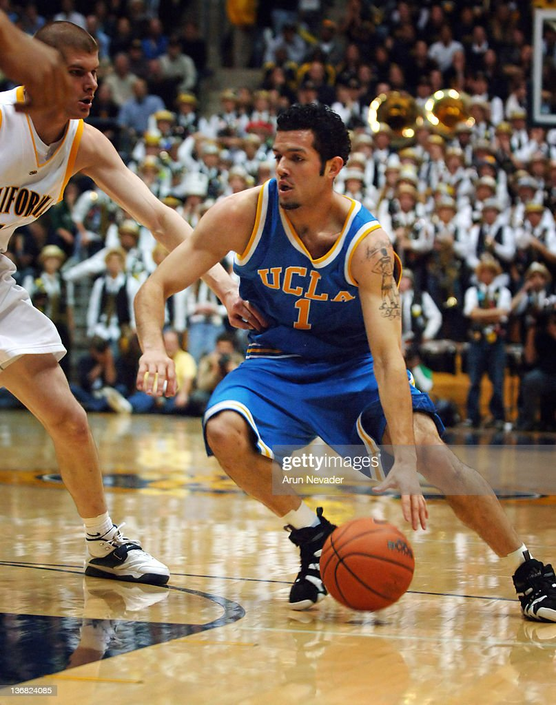 UCLA guard <a gi-track='captionPersonalityLinkClicked' href=/galleries/search?phrase=Jordan+Farmar&family=editorial&specificpeople=228137 ng-click='$event.stopPropagation()'>Jordan Farmar</a> presses for 2 points in the first half at the Haas Pavilion as UCLA beats Cal 67 to 58 in Berkeley, California, March 2, 2006.