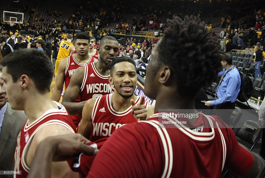 Guard Jordan Hill of the Wisconsin Badgers celebrates with forward Nigel Hayes after they defeated the Iowa Hawkeyes on February 24 2016 at...