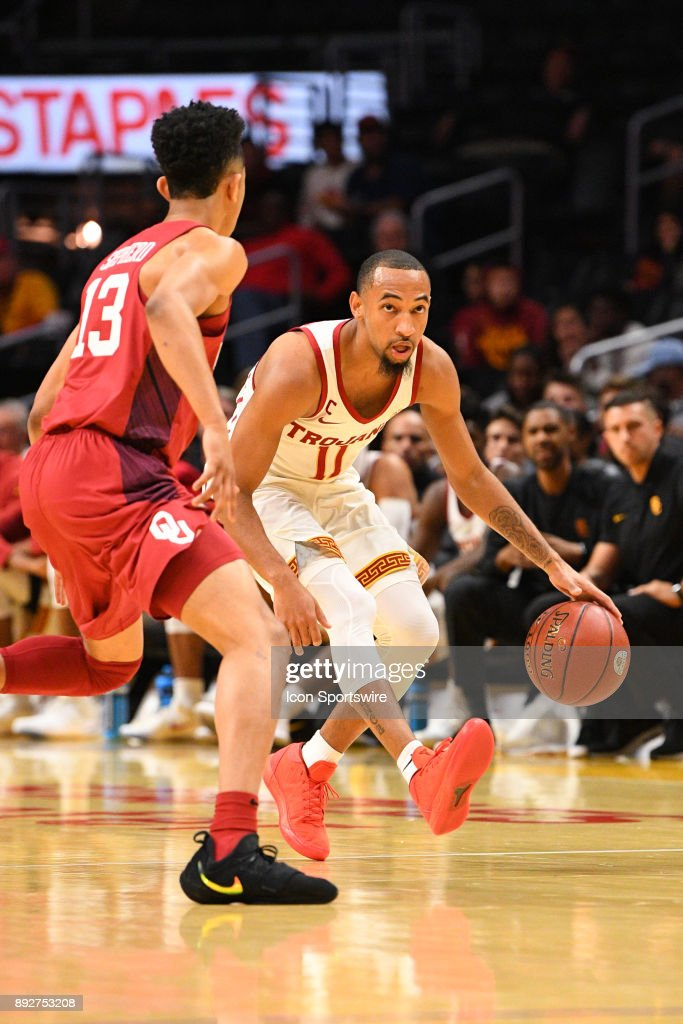 USC guard Jordan McLaughlin (11) brings the ball up the court during an college basketball game between the Oklahoma Sooners and the USC Trojans in the Basketball Hall of Fame Classic on December 8, 2017 at STAPLES Center in Los Angeles, CA.