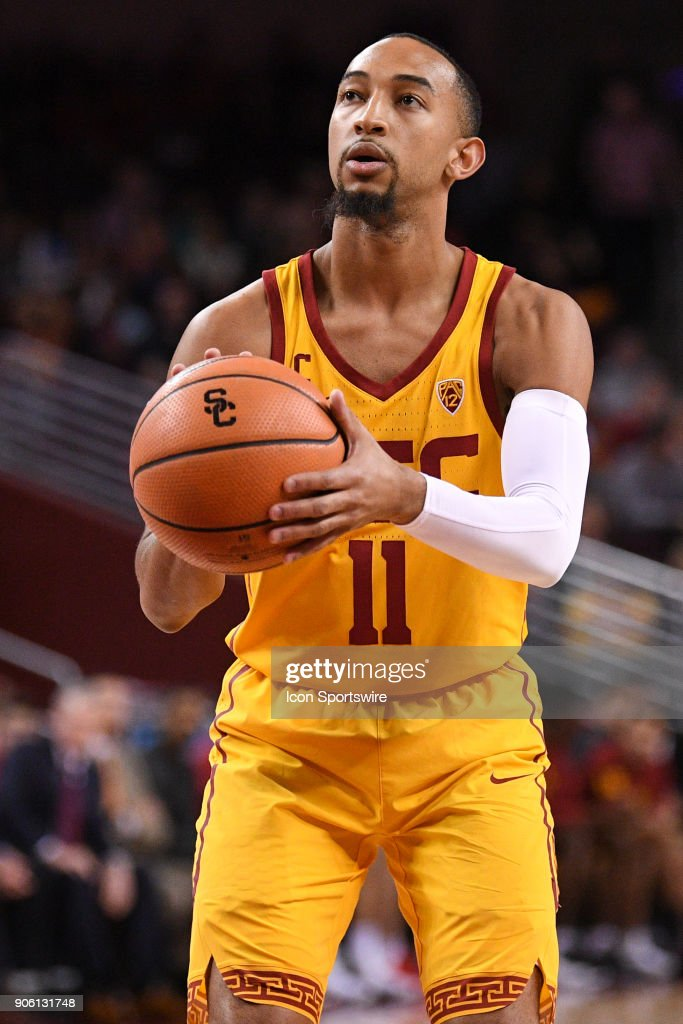 USC guard Jordan McLaughlin (11) shoots a free throw during a college basketball game between the Utah Utes and the USC Trojans on January 14, 2018, at the Galen Center in Los Angeles, CA.