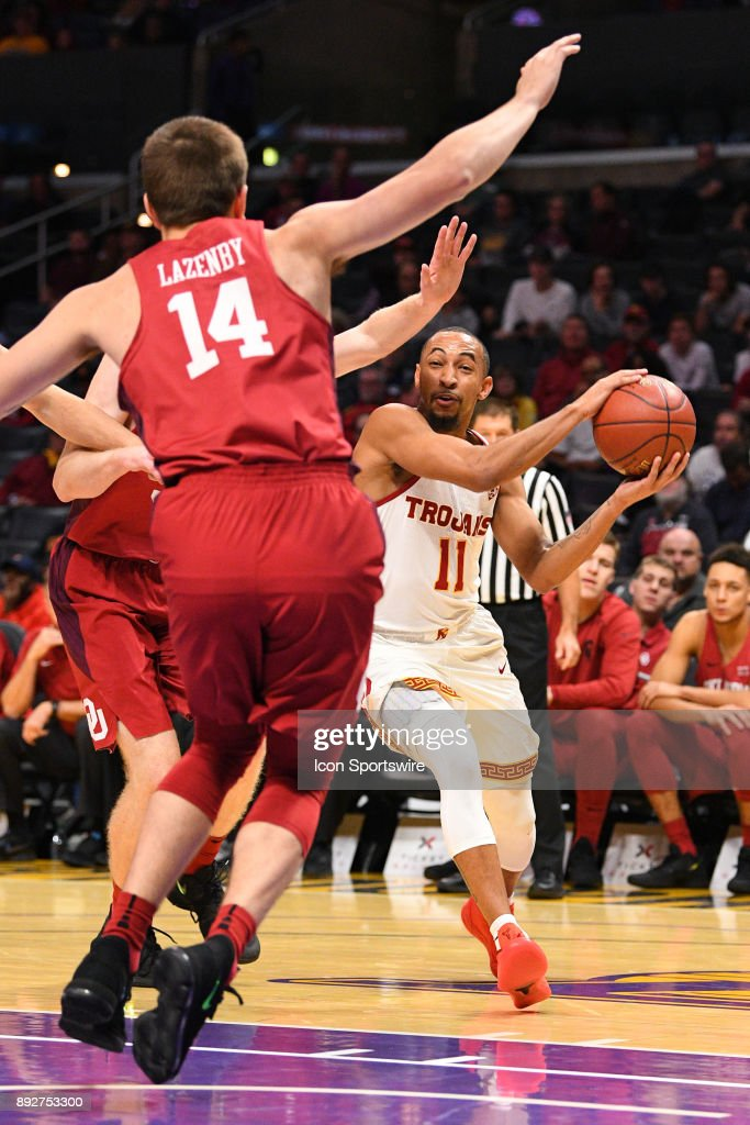USC guard Jordan McLaughlin (11) tries to make a pass during an college basketball game between the Oklahoma Sooners and the USC Trojans in the Basketball Hall of Fame Classic on December 8, 2017 at STAPLES Center in Los Angeles, CA.
