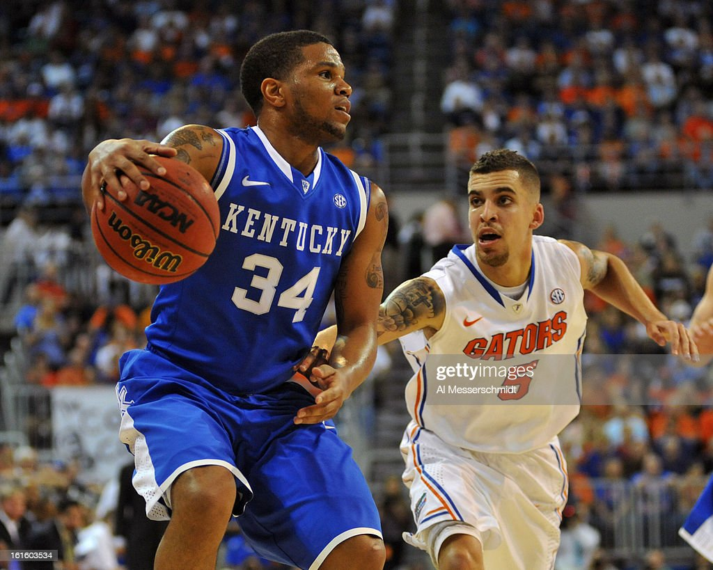Guard Julius Mays of the Kentucky Wildcats drives up court against the Florida Gators February 12 2013 at Stephen C O'Connell Center in Gainesville...