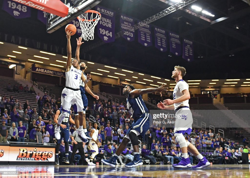 Guard Kamau Stokes #3 of the Kansas State Wildcats drives to the basket for a lay up against the Oral Roberts Golden Eagles during the second half November 29, 2017 at Bramlage Coliseum in Manhattan, Kansas.