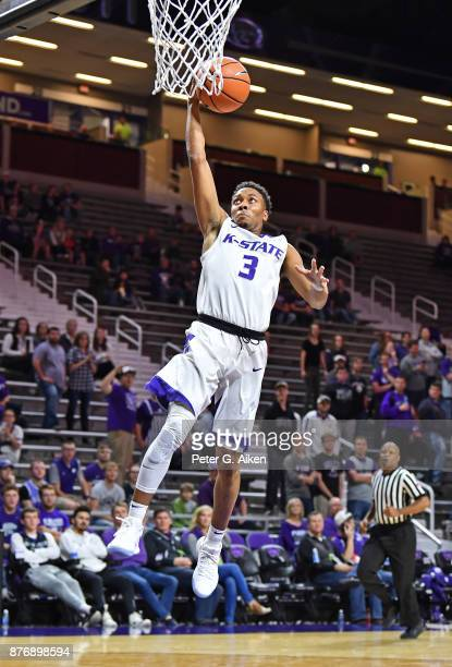 Guard Kamau Stokes of the Kansas State Wildcats scores a layup against the Northern Arizona Lumberjacks during the second half on November 20 2017 at...