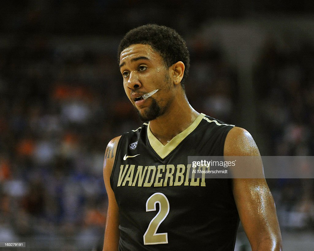Guard Kedren Johnson #2 of the Vanderbilt Commodores pauses during a break in the action against the Florida Gators March 6, 2013 at Stephen C. O'Connell Center in Gainesville, Florida.