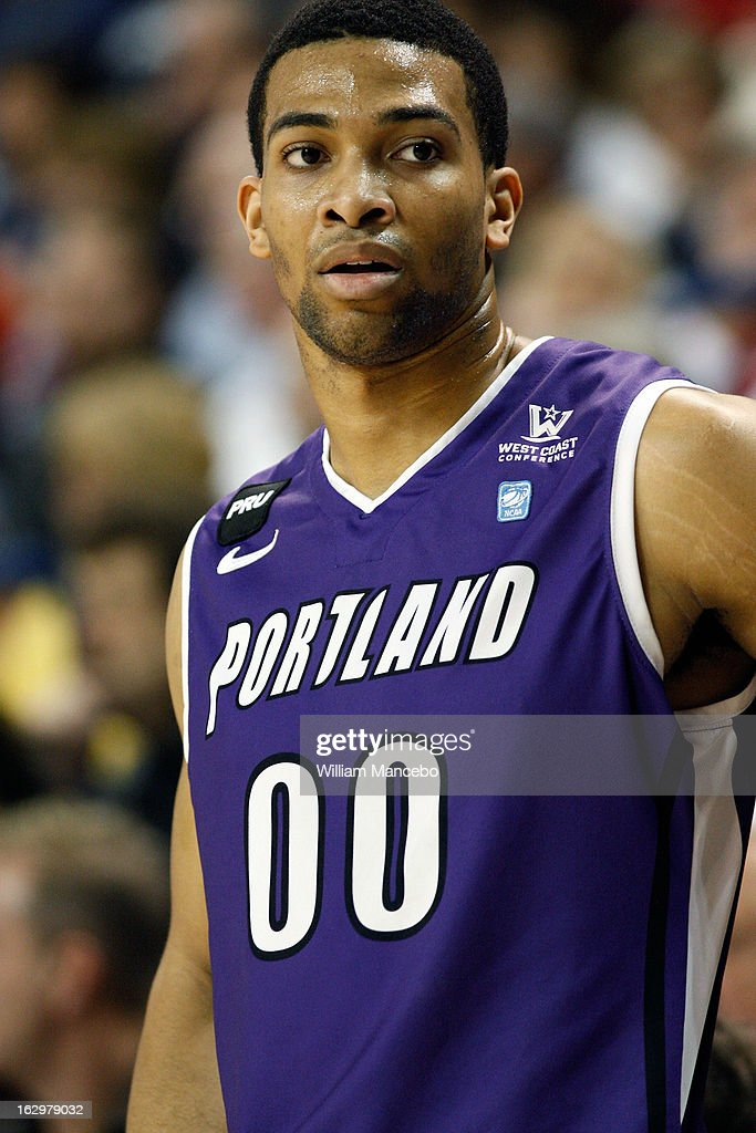 Guard Kevin Bailey #00 of the Portland Pilots is seen standing on the sideline during the game against the Gonzaga Bulldogs at McCarthey Athletic Center on March 2, 2013 in Spokane, Washington.