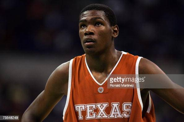 Guard Kevin Durant of the Texas Longhorns pauses during the finals of the Phillips 66 Big 12 Men's Basketball Championship against the Texas...