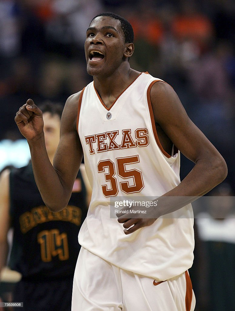 Guard <a gi-track='captionPersonalityLinkClicked' href=/galleries/search?phrase=Kevin+Durant&family=editorial&specificpeople=3847329 ng-click='$event.stopPropagation()'>Kevin Durant</a> #35 of the Texas Longhorns reacts during a 74-69 win against the Baylor Bears during the quarterfinals of the Phillips 66 Big 12 Men's Basketball Championship on March 9, 2007 at the Ford Center in Oklahoma City, Oklahoma.