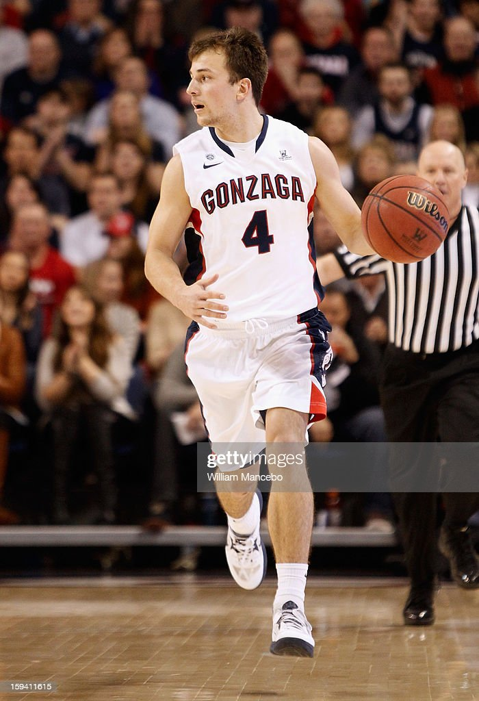 Guard Kevin Pangos #4 of the Gonzaga Bulldogs drives the ball during the game against the Saint Mary's Gaels at McCarthey Athletic Center on January 10, 2013 in Spokane, Washington.