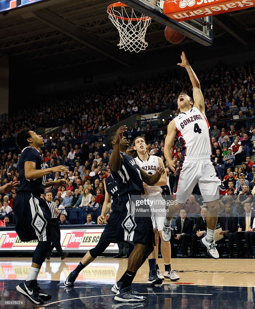 Guard Kevin Pangos #4 of the Gonzaga Bulldogs shoots for a goal against the San Diego Toreros during the game at McCarthey Athletic Center on February 23, 2013 in Spokane, Washington.