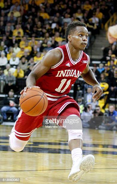 Guard Kevin 'Yogi' Ferrell of the Indiana Hoosiers brings the ball down the court in the second half against the Iowa Hawkeye on March 1 2016 at...