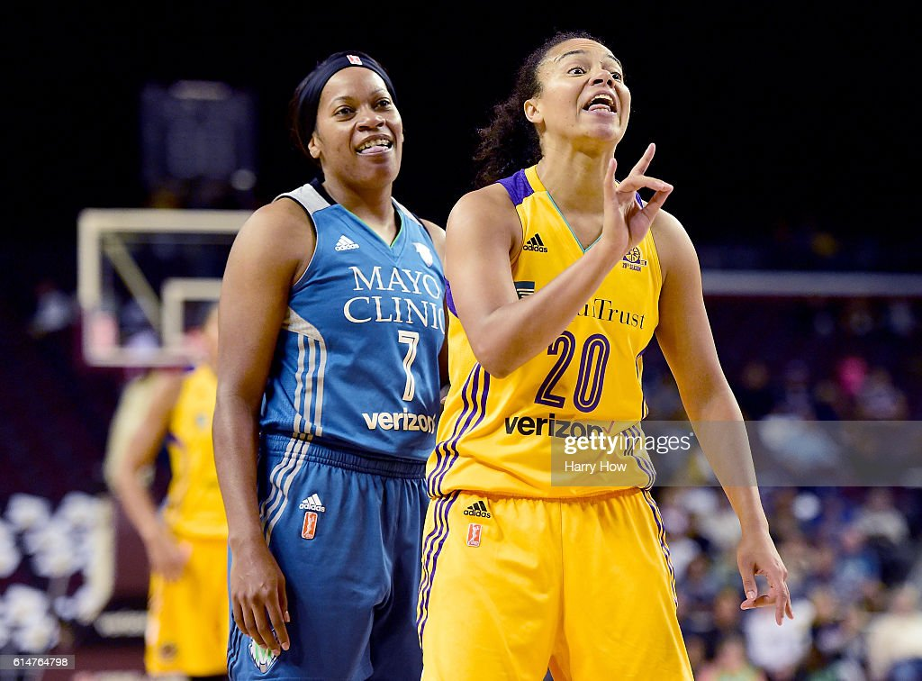 Guard Kristi Toliver #20 of the Los Angeles Sparks ad guard Jia Perkins #7 of the Minnesota Lynx react to a possession call from the referee in game three of the 2016 WNBA Finals at Galen Center on October 14, 2016 in Los Angeles, California.