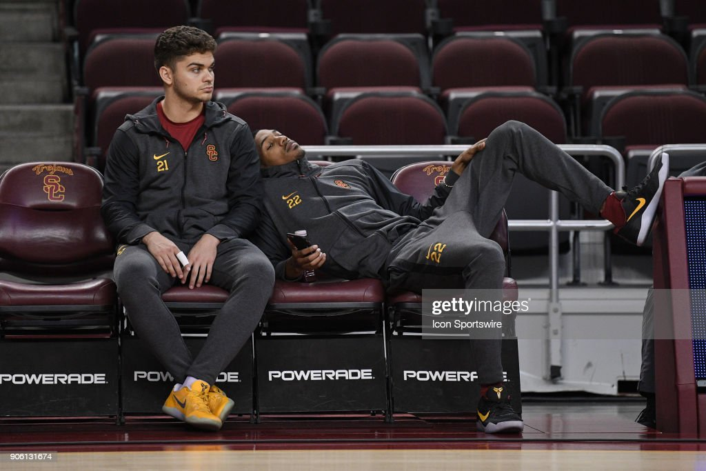 USC guard Kurt Karis (21) and USC guard De'Anthony Melton (22) look on before a college basketball game between the Utah Utes and the USC Trojans on January 14, 2018, at the Galen Center in Los Angeles, CA.