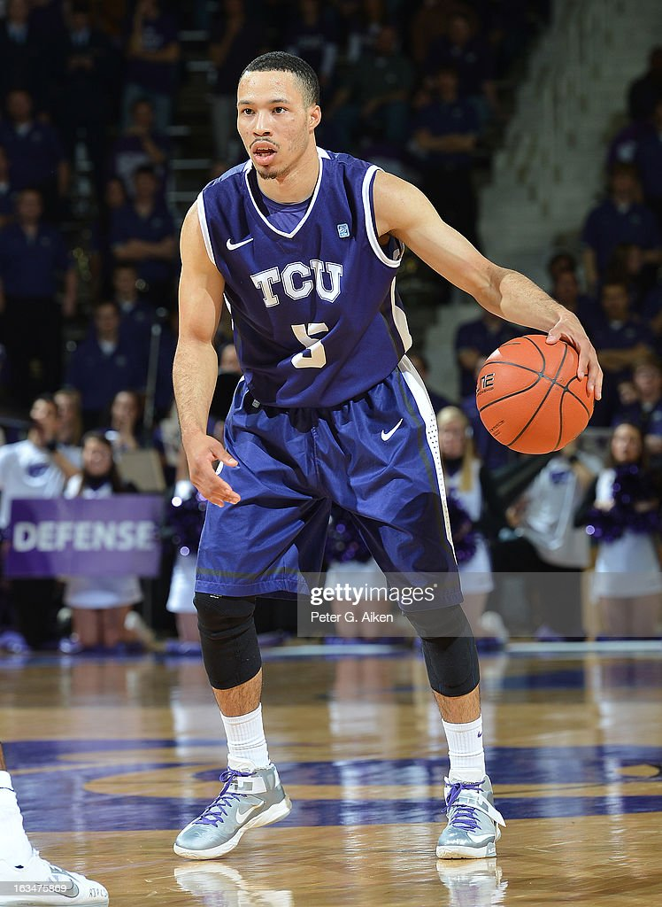 Guard Kyan Anderson #5 of the Texas Christian Horned Frogs brings the ball up court against the Kansas State Wildcats during the first half on March 5, 2013 at Bramlage Coliseum in Manhattan, Kansas.