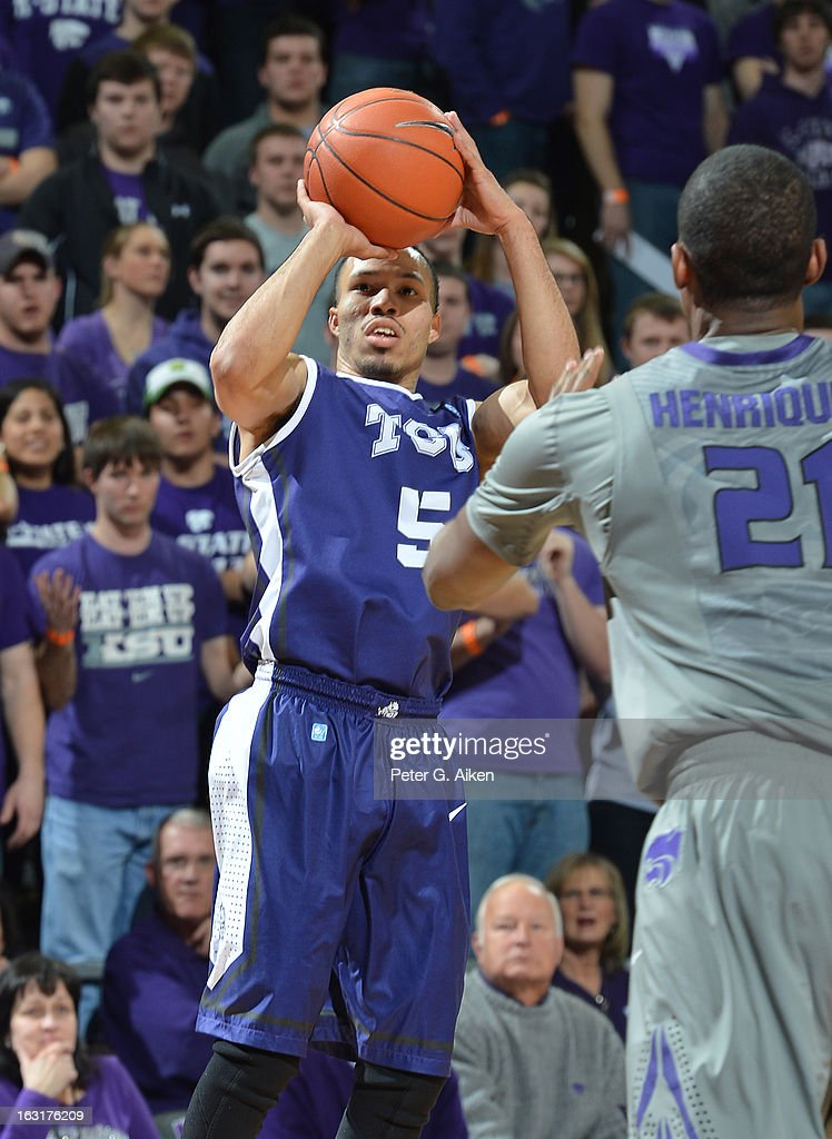 Guard Kyan Anderson #5 of the Texas Christian Horned Frogs puts up a shot against the Kansas State Wildcats during the first half on March 5, 2013 at Bramlage Coliseum in Manhattan, Kansas.