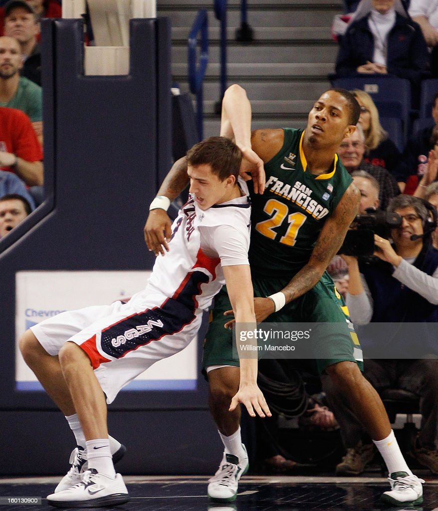 Guard Kyle Dranginis #3 of the Gonzaga Bulldogs is fouled during play by guard De'End Parker # 21 of the San Francisco Dons during the second half of the game at McCarthey Athletic Center on January 26, 2013 in Spokane, Washington.