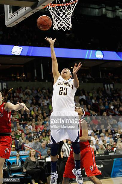 Guard Layshia Clarendon of the California Golden Bears goes to the basket against the Georgia Lady Bulldogs during the NCAA Division I Women's...