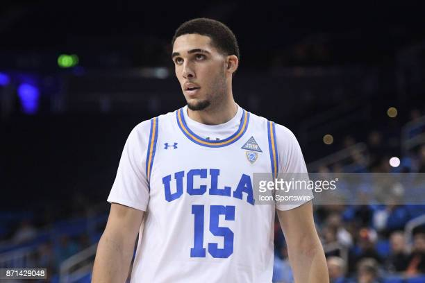 UCLA guard LiAngelo Ball looks on during an college exhibition basketball game between the Cal State Los Angeles and the UCLA Bruins on November 1 at...