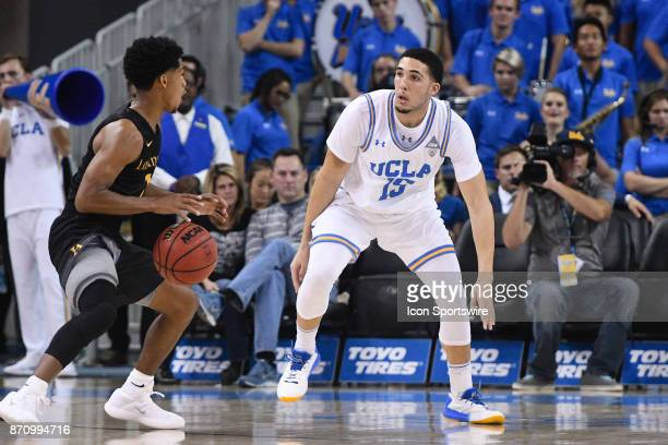 UCLA guard LiAngelo Ball on defense during an college exhibition basketball game between the Cal State Los Angeles and the UCLA Bruins on November 1...