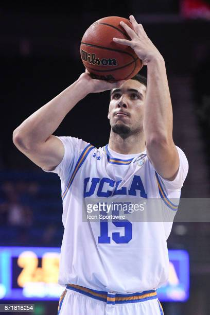 UCLA guard LiAngelo Ball shoots a free throw during an college exhibition basketball game between the Cal State Los Angeles and the UCLA Bruins on...