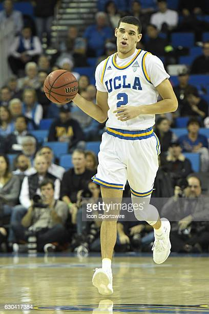 UCLA guard Lonzo Ball brings the ball up the court during an NCAA basketball game between the UC Santa Barbara Gauchos and the UCLA Bruins on...