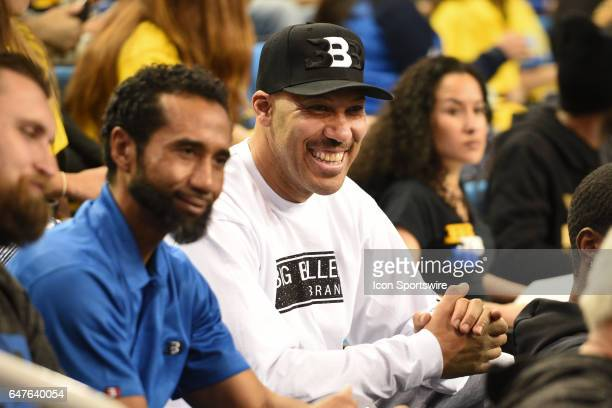 UCLA guard Lonzo Ball dad LaVar Ball looks on during a college basketball game between the Washington Huskies and the UCLA Bruins on March 1 at...